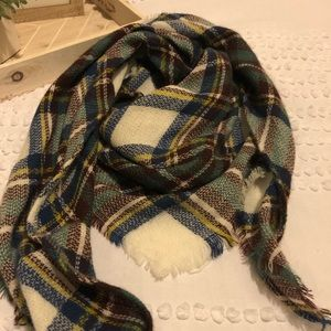 Multi Plaid Cashmere Feel Triangle Scarf